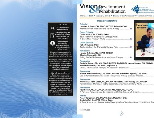 College of Optometrists in Vision Development, online journal Vision Development & Rehabilitation, releases Issue 6-2, featuring Telemedicine