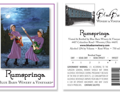 New wine label designs and illustrations for Blue Barn Winery & Vineyard